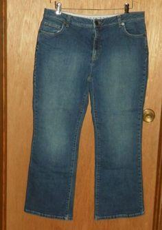 1e56704df32 Lands End Denim Blue Jeans Size 14 Original Fit Modern Waist Boot Leg