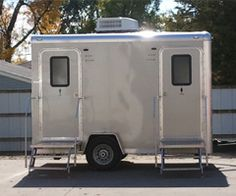 I didn't know that they made porta potties that are built onto a trailer. This would make transporting the mobile bathrooms that much easier. I wonder if my step-dad would rent one of these for when he goes hunting next year?