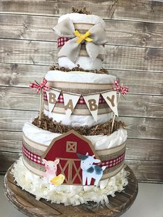 Informations About Farm Diaper Cake, Farm Baby Shower Centerpiece, Farm Theme Decorations - Baby Sho Cowboy Baby Shower, Baby Boy Shower, Baby Shower Gifts, Baby Gifts, Baby Shower Centerpieces, Baby Shower Decorations, Centerpiece Decorations, Baby Showers Juegos, Virtual Baby Shower