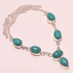 23 GM GORGEOUS SANTA ROSA TURQUOISE .925 STERLING SILVER NECKLACE #Handmade