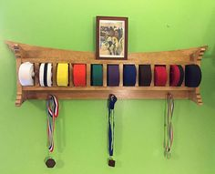 Martial Arts Belt Trophy and Medal Display