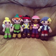 Crochet Jake and the Neverland Pirates amigurumi set I made for my 2 year old with Tinkerbell, Peter Pan, Jake, Izzy and Cubby :)