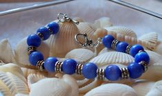 Blue Cat's Eye Beaded Bracelet by DesignsByDeb18 on Etsy, $8.00