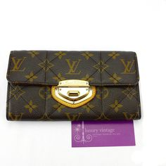 LV Portefeuille Sarah Wallet Monogram Quilted Canvas With Gold Hardware Good Condition Ref.code-(KCRT-2)