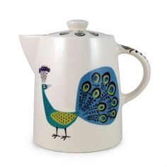 Peacock Teapot | Hannah Turner Ceramics ~ I'd love to own the whole set ~ beautiful custom ceramics <3