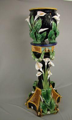 Majolica George Jones Jardiniere & Pedestal