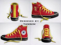 Custom Game of Thrones House Lannister Converse Chucks by Tannim. , via Etsy. Converse All Star, Converse Chuck Taylor, Tenis Converse, Converse High, High Top Sneakers, Vans, Converse Shoes, Sweet Games, Curvy Petite Fashion