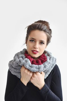 Items similar to Reversible Cowl in Grey & Burgundy, Chunky Knit Cowl, Womens Wool Snood, Unisex Wool Snood, Hand Knit Infinity Scarf on Etsy Knit Cowl, Knitted Shawls, Knit Crochet, Hand Knitting, Fashion Beauty, Burgundy, Etsy, Unisex, Scarves