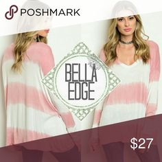 Dusty pink ivory tie dye tunic top 💎95% RAYON, 5% SPANDEX 💎Made in USA 💎This long sleeve top features a v-neckline, a comfy jersey knit feel in trendy tie-dye 💎Size S/M and M/L Bella Edge Boutique Tops Tunics