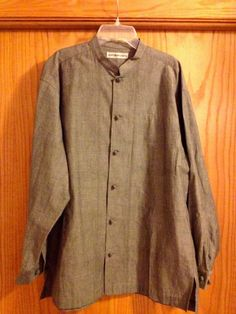 ISSEY MIYAKE MEN Mandarin Collar w/flipped pocket Shirt Medium 2 MINT RARE