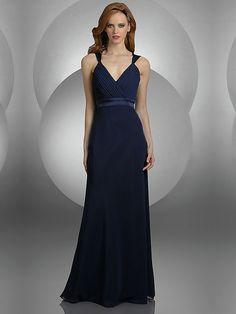 A-line V-neck Belt Long Blue Dress