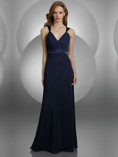 Column Dark Navy V-neck Long Prom Dress With Belt
