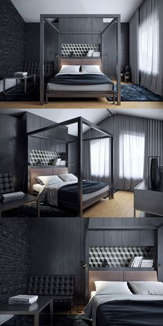 These dark bedrooms pull you into a dream-like state with black accent walls, and stunningly deep furniture and accents. So much design is about light and brigh
