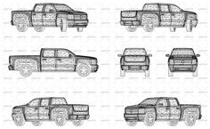 Wireframe design of pickup truck