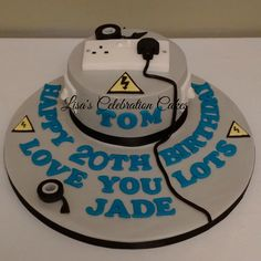 """6"""" birthday cake for an electrician."""