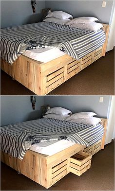Bed can be prepared by using the reclaimed wooden pallets along with the storage, the beds available in the market are costly and those which come with the storage option are not affordable for many. So, making a bed at home with the help of pallets is a unique idea which gives the option of creating a storage place like the idea presented.