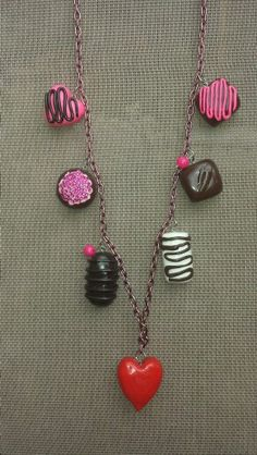 Handmade polymer clay Valentines Chocolates necklace. Listed in my shop Www.facebook.com/TidbitsnTatertots