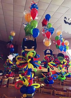 Super hero Centrepieces - Visit to grab an amazing super hero shirt now on sale! Avengers Birthday, Superhero Birthday Party, 4th Birthday Parties, Boy Birthday, Birthday Ideas, Superhero Baby Shower, Batman Party, Baby Party, Balloon Decorations