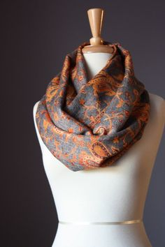 Orange and grey patterned Infinity Scarf Floral pashmina paisley   autumn color  soft fall grey burnt orange  Jacquard on Etsy, $29.00