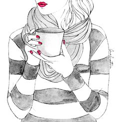contrast- this drawing is a good example of contrast. the artist put both black and white directly next to each other which creates contrast. Both black and white are plain colors, but the nails and the lips of the woman are red. The sudden burst of red is also another good example of contrast in the drawing.