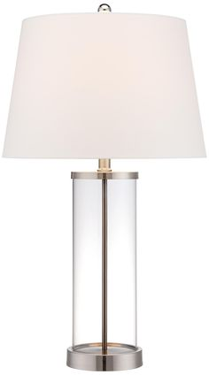 $79 Glass and Steel Cylinder Fillable Table Lamp | LampsPlus.com