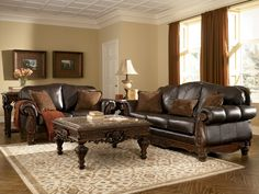 Old World Living Rooms | ... Leather Brown Traditional Sofa Set Old World Couch Living Room | eBay