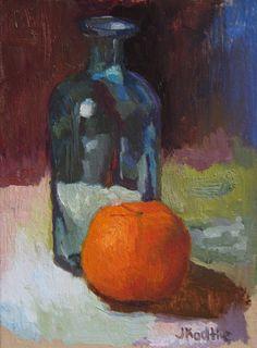 Still Life Oil Painting Study Blue Bottle 5x7 on by JKArtStudio