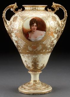 HAND PAINTED NIPPON BOLTED PORTRAIT URN, : Lot 893
