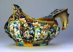 Shaded Cloisonne Enamel and Silver Russian Kovsh