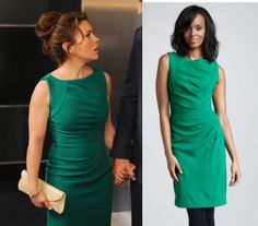 Mistresses episode 7: Savi's (Alyssa Milano) sleeveless green sheath dress by Milly #getthelook #mistresses