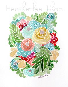 Flower Watercolor  Print Painting  Tropical Colors  by ladypoppins