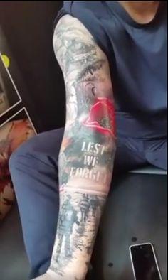 Tattoos On Arm Army Tattoos, Military Tattoos, Leg Tattoos, Body Art Tattoos, Tatoos, Remeberance Tattoos, Lest We Forget Tattoo, Military Sleeve Tattoo, Archangel Tattoo