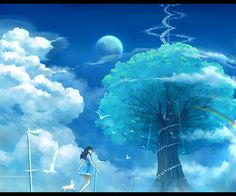 Inspired by Japanese artists Makoto Ahinkai, Kazuo Oga, Indonesian artist Niken Anindita created the intriguing anime illustrations. Her work looks clean, which is mix of fantasy and minimalist styles Art And Illustration, Sky Anime, Anime Manga, Anime Art, Scenery Wallpaper, Wallpaper Art, Anime Scenery, Japanese Artists, Ghibli