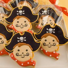 Fun pirate sugar cookies created by TSCookies on etsy.com arrive wrapped and ready to give to party guests.