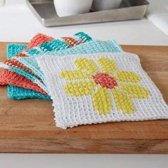 Tunisian Simple Stitch Dishcloth FREE Downloadable Crochet Pattern - Herrschners