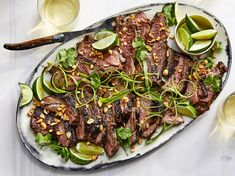 This impressive main is very tender and loaded with dynamic flavor. The doneness of the lamb varies depending on what part of the meat you eat from, Grilled Leg Of Lamb, Lamb Recipes, Buffet Recipes, Meat Recipes, Heart Healthy Recipes, Healthy Options, Healthy Foods, Grilling Recipes, Carne