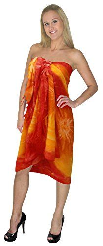 """La Leela Tie Dye Self Printed Beach Swim Hawaiian Sarong Cover up Orange. Do YOU want SARONG in other colors Like Red ; Pink ; Orange ; Violet ; Purple ; Yellow ; Green ; Turquoise ; Blue ; Teal ; Black ; Grey ; White ; Maroon ; Brown ; Mustard ; Navy ,Please click on BRAND NAME LA LEELA above TITLE OR Search for �LA LEELA� in Search Bar of Amazon. LENGTH 72"""" [183 cms] WIDTH 42"""" [107 cms]. Soft Sarong with PLENTY OF Wrap Around MATERIAL (Provides you good coverage or less as you like)…"""