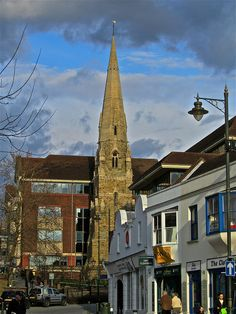 St Marks Church in Horsham, partially demolished to build office blocks. The tower alone was left as a reminder of what was.