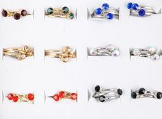 Stackable diamante rings adjustable rings sets of THREE sparkly 059
