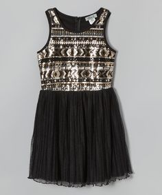 This Gold & Black Tribal Sequin Dress is perfect! #zulilyfinds
