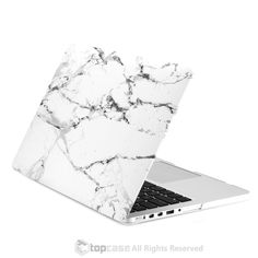 "White Marble Rubberized Hard Case for MacBook Pro 15"" with Retina Display Model A1398 (LASTEST VERSION)"
