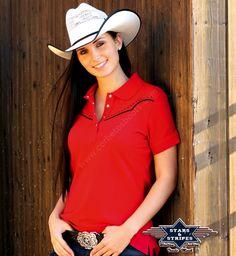 50-Caitlin | Polo rojo estilo vaquero con canesú Stars & Stripes para mujer - Stars & Stripes womens red polo shirt with western yoke