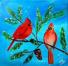 Winter Cardinals Acrylic on 12x12 Canvas Angela and Sherpa Winter Paint In
