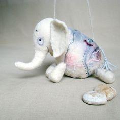 Berthina -  White Felt Elephant. Art Marionette. Puppet. Felted Stuffed Toy. pastel.