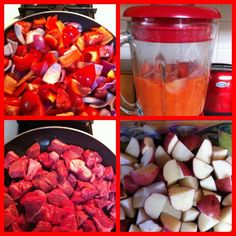 From Jenn:  Simple/Yummy fall meal: cut up 2 bell peppers, 1 onion and about 6 roma tomatoes (sauté in pan then blend in blender/food processor), brown some beef stew meat and cut up 6 small red potatoes, add altogether in one pot (cover and simmer for at least 1 1/2 hours. It's a dish my mother in law created, we make it with white rice because Salvadorians love their rice:) I use two packages of beef to feed 6 adults and 3 kids and there is always leftovers.