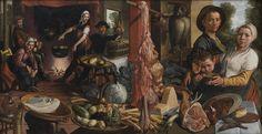 "Artist Pieter Aertsen (circa 1508–1575)  Title Dansk: Det fede køkken. ""Voluptas Carnis"" English: The Fat Kitchen. An Allegory Date1565-..."