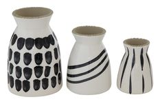 This set of three stoneware hand- painted vases will be great decoration for your home. Dimensions: & Hand Painted Vases by Creative Co-Op. Home & Gifts - Home Decor Texas Black And White Vase, White Vases, White White, Bud Vases, Flower Vases, Contemporary Vases, Creative Co Op, White Home Decor, Ginger Jars
