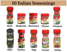10 Italian Seasonings Great way to organize them