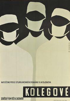 "Plakat filmowy do radzieckiego filmu ""Kolegove"". Reżyseria: A. Sacharov. Projekt: VACHUDA, 1963"