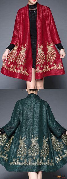 Plus Size Elegant Women Peacock Embroidery Cardigans. Batwing Sleeve, fashion design, elegant and vintage. Get the look!